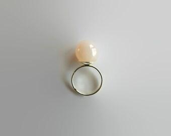 Pink Ring, Adjustable Ring, Statement Ring, Cocktail Ring, Tea Rose Ring, Pale Pink Ball Ring, Ladies Ring, Bridesmaid Gift, Womens Ring