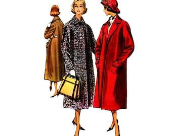 1950s Womens Clutch Coat McCalls 4262 Vintage Sewing Pattern Front Button Coat Misses Size 12 Bust 32