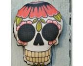 Poppy Sugar Skull Tattoo Ornament - Original Folk Art Skeleton- Printed and Stuffed Fabric