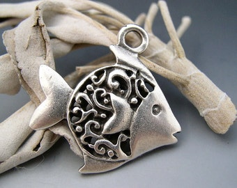 Tropical Fish Pendant Mykonos Greek Pewter Lead Free Nickel Free Double Sided Naos