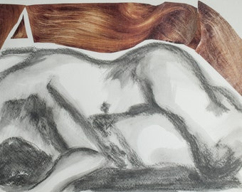 Body and Hair // graphite drawing / painting / ooak / nude / collage