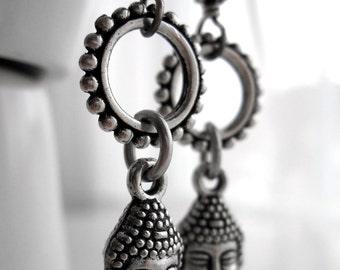 Silver Buddha Earrings, Yoga Jewelry, Yoga Earrings, Spiritual Meditation Jewelry, Hindu Jewelry, Buddhist Jewelry, OM Aum, Gift for Yogini