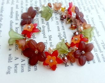 Lucite Flower Bracelet Sterling Silver Fall Colors Brown Green Rust