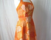 SALE Halter Dress Orange Floral Dress 70s Vintage Flower Print Sundress
