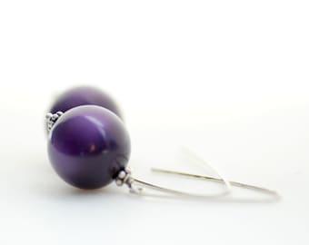 Simple Earrings, Purple Earrings, Lucite Earrings, Dangle Earrings, Sterling Silver, Plum Purple, Orchid Purple, Aubergine - simplify