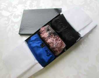 3 silk panties - boxed lingerie gift set with three pairs of knickers in small medium or large - luxury lingerie set XS S M L XL