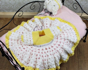 CROCHET PATTERN For  Spring Rose Baby Dress & Hat PDF 15 Digital Download