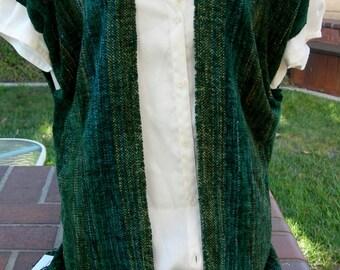 VEST handwoven rayon chenille evergreen