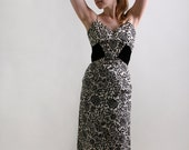 Vintage 1950s Cocktail Dress - Black and White Rhinestone Formal Evening Wiggle Dress - Small Medium