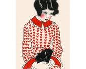 Art de chat - Betty et son chaton noir 4 « X 6 » print - 4 à vendre 3