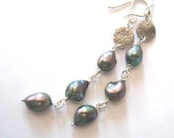 Baroque Pearl Long Earrings, Eco Friendly Fine Silver Wave, Freshwater Pearls, One of a Kind Earrings