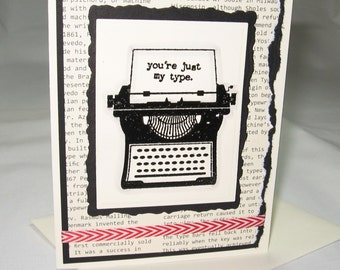 You're Just My Type Retro Valentine with Typewriter for Librarians and Editors