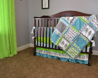 Custom Rag Quilt in Gray, Green, and Blue, Elephants, Crib Quilt Size, Made to Order