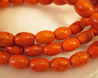 Turquoise Beads, Howlite Beads, Orange Barrel Beads, Burnt Orange Howlite, Small Rice Barrel, 8x10mm, 1mm Hole, QTY 28 - tq297