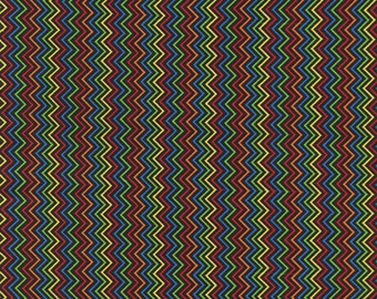 Chevron Mini Rainbow Black Timeless Treasures Fabric 1 yard 16 inches LAST IN STOCK