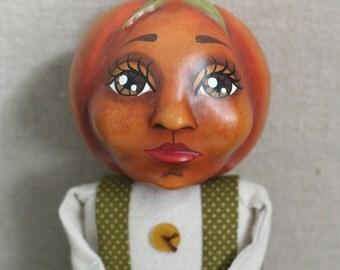 Original, Heirloom Quality Cloth and Clay Orange Pumpkin Halloween or Fall Doll -- OOAK Appalachian Folk Art Anthropomorphic Mixed Media