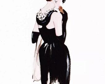 Breakfast At Tiffany's Audrey Hepburn Fashion Illustration Print