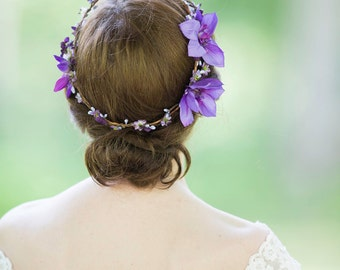 bridal flower crown, purple bridal hairpiece, wedding headpiece, floral, hair accessory -IRENE- hair vine, floral circlet, purple hairpiece