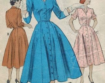 1950s Butterick 6180 Vintage Sewing Pattern Misses Shirtwaist Dress, Spectator Dress,  Size 12 Bust 30