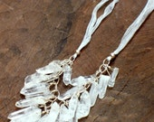 quartz point and sterling silver bib necklace
