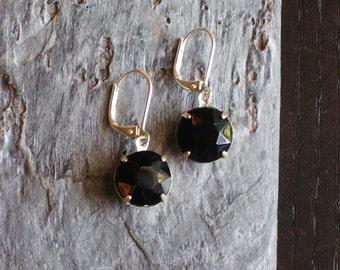 Black jewel earrings, vintage glass earrings, black dangle earrings, estate style earrings, holiday gift ideas, gift ideas for mom