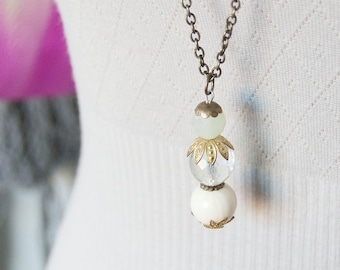 Frost - long lenght bead necklace
