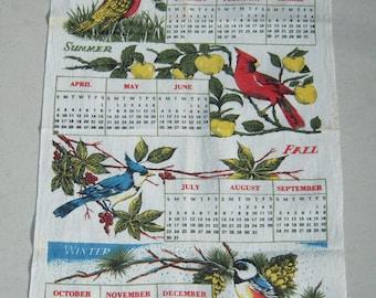 Vintage 1967 Calendar Towel Birds for Every Season