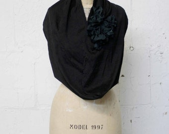 Women's Black Silk Ruffle Circle Scarf / Black Infinity Scarf