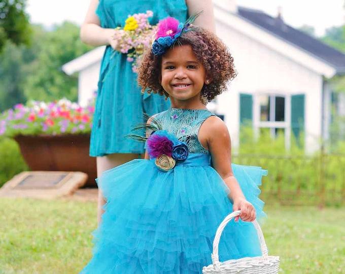 Peacock Flower Girl Dress - Boutique Girl Dresses - Toddler Flower Girl - Custom Dress - Full Length Dress - Wedding - Sizes 2T to 8 Years