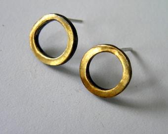 Black and Gold Sterling Silver Mini Hoop Earrings. Ring Earrings