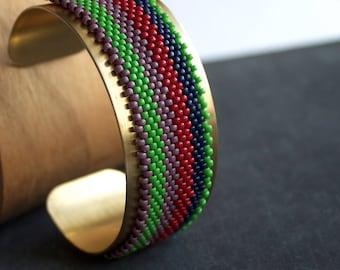 Wide Stripe Beadwork Cuff Bracelet Gold Brass Wrap Metal Colorful Beadwoven Beaded Handmade Boho Jewellery
