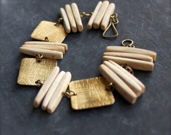 Natural Beige Gold Beadwork Bracelet Textured Brass Cream White Coconut Stick Beach Tribal Boho Bohemian Jewellery