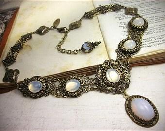 White Opal Victorian Necklace, Crystal Renaissance Bridal Jewelry, Medieval Wedding, Ren Faire, Festival, Bridesmaid, SCA, Lucia