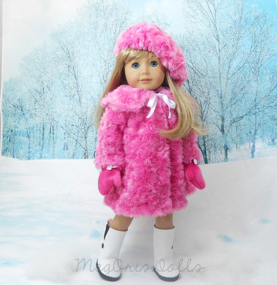 American Girl Doll Fur Coat in Pink comes with Hat and Mittens LAST ONE!