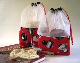 Knitting Sheep At-A-Glance Knitting/Crochet/Spinning Project Bags Large & Medium