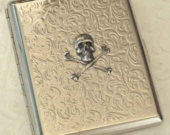 Silver Skull Cigarette Case Silver Plated Metal Large Case Silver Case Double Size Steampunk Cigarette Case Big Size Pirate Skull Case New