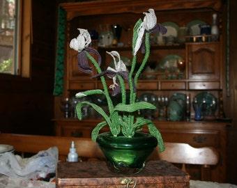 Vintage Beaded Irises/ Craft/ Victorian