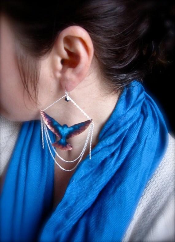 Bird of flight  earrings- Hand forged Hummingbird chandelier earrings with sterling silver chain