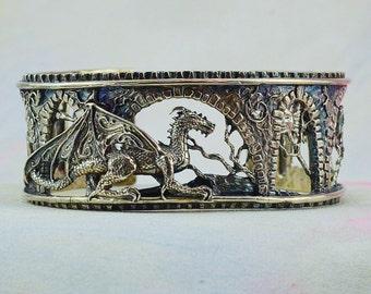 "Size Large/Extra Large Fantasy Dragon Bracelet ""Brackenthal's Keep"" in Sterling Silver"