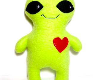 Large alien plush toy stuffed monster alien - child adult stuffed plush monster - green stuffed alien creature - geeky space plush