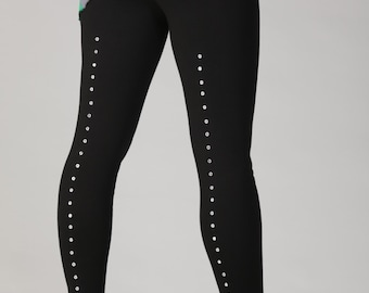 Sleek and Sexy Leggings with Eyelets Bamboo Jersey Knit :Made to Order in Six Colors Sz. Sm Med Lg XL Eco Friendly Organic Rocker Punk Goth