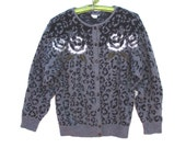 80s Animal Print Roses Cardigan Stambecco Italy Sweater Soft Fuzzy Winter Jumper Gray Black Roomy small to medium