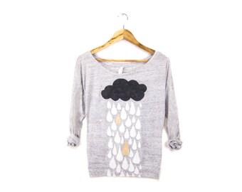 Rainstorm Sweatshirt - Oversized Lightweight Long Sleeve Pullover Raglan Sweater in Heather Marl Grey & Gold - Women's Size XS-2XL Q