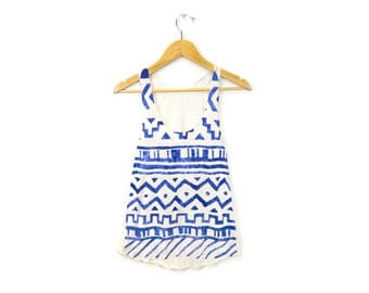 Geo Tribal Stamp Tank - Racerback Scoop Neck Swing Tank Top in Heather Porcelain and Cobalt Blue - Women's Size XS-2XL
