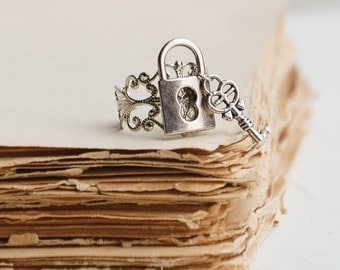 Lock & Key Ring, Silver Key Ring, Silver Lock Ring, Fairy Tale, Princess Ring, Key to My Heart, Heart Ring, Steampunk Ring, Game of Thrones