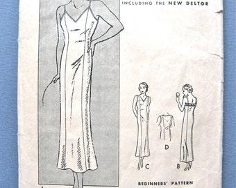 Butterick 5198 vintage1930s slip sewing pattern Slip size is ust 40
