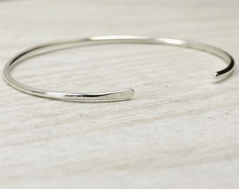 Sterling Silver Smooth Cuff Bracelet, Simple Silver Cuff Bracelet, Custom Sized Stacking Bracelets