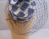Pillbox Hat made from Blue Police Box Fabric/Pillbox Hat with Veiling
