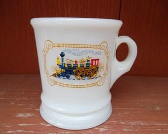 Vintage 1974 Avon Milk Glass Iron Horse Shaving Mug