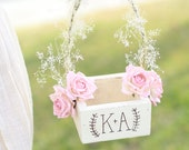 Personalized Rustic Chic Flower Girl Basket Paper Roses Baby's Breath Barn Wedding (Item Number MMHDSR10034)